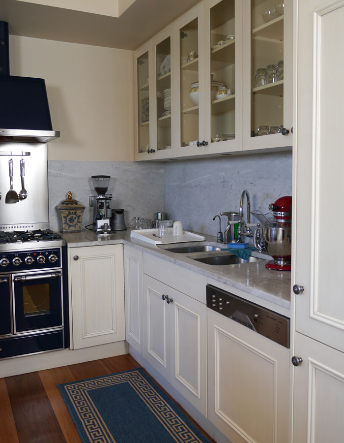 French kitchen with marble benchtops