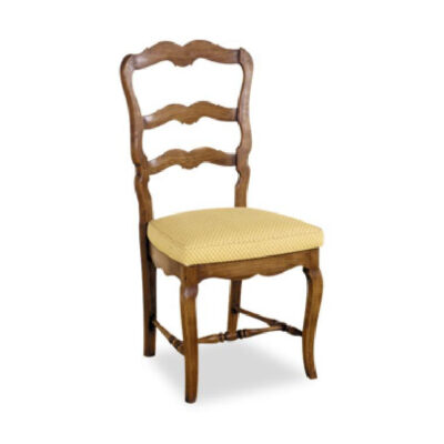 French country style or farmhouse style dining chair with cushion seat and ladder back design in carving with timber walnut colour finish.