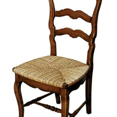 Classic looking French provincial or farmhouse dining chair with cane rush seat and ladder back carving in timber finish.