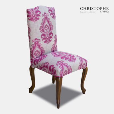 French country style dining chair in linen pink and grey upholstery, classic French provincial look with timber cabriole legs.