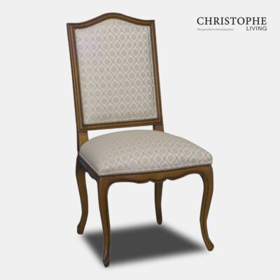 French style walnut timber European carved dining chair with linen fabric upholstery, timber frame back and curved Louis style cabriole legs