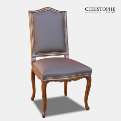 French provincial dining chair with leather and Hamptons look. Timber finish and studding for classy luxury appearance.