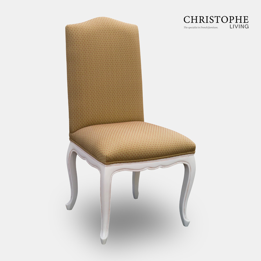 White painted with antique finish carved French dining chair made from timber frame and fully upholstered with gold and red fabric