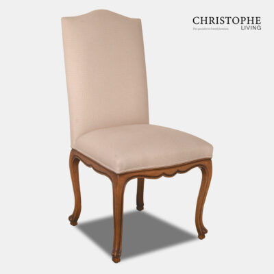 French upholstered chair with linen fabric in Louis style with carved timber legs in walnut finish and scalloped apron for Hamptons or French style dining