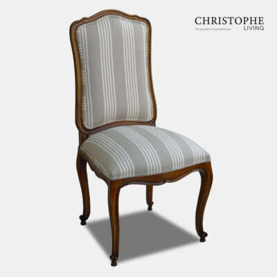 Classic timber French chair for dining room in provincial Louis style with linen upholstery grey with white stripe