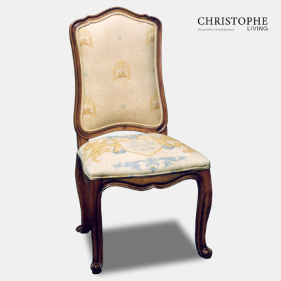French upholstery dining chair with timber finish and yellow gold heraldic fabric and curved apron in classic style
