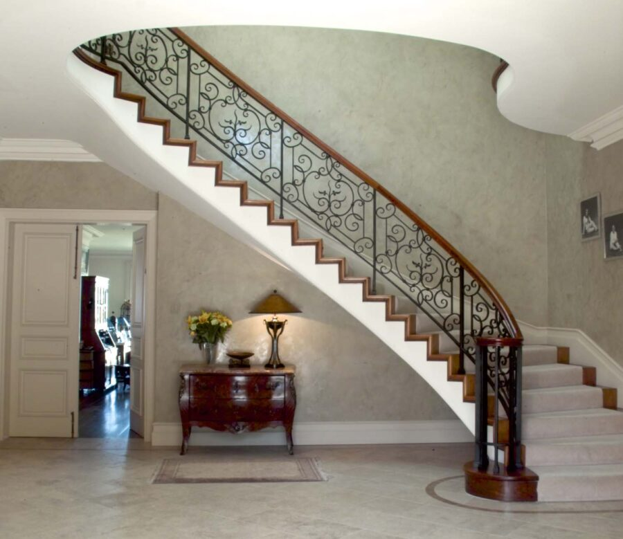 Classic Grand Stairwell Timber & Wrought Iron