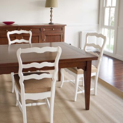 French Traditional White Painted Dining Chairs with Timber Dining Table