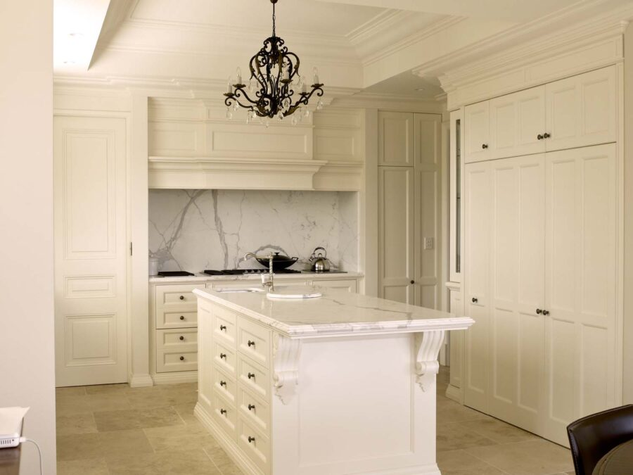 Classic French Modern Parisian Antique White Kitchen with Marble Top