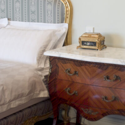 french Traditional Louis Style Timber Bedside with Marble Top