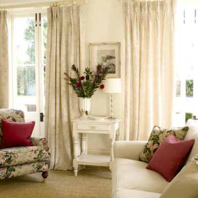 Classic French Antique White and Floral Living Room