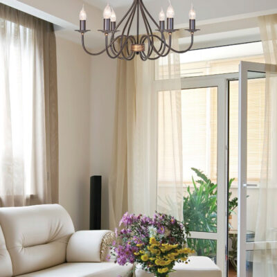 French Traditional Wrought Iron Chandelier