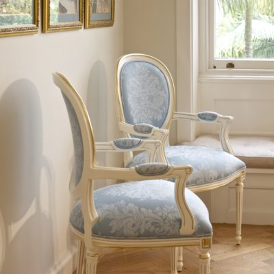 French Classic Luxury Dining Chair with Gold Trim