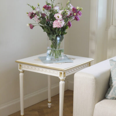 Classic & Traditional Parisian White Side Table with Gold Trim