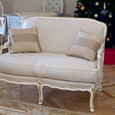 French Classic Parisian White 2 seaters Sofa with Gold Trim