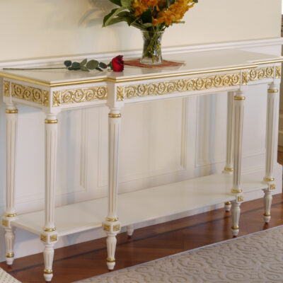 Classic French White Side Server with Gilding Details