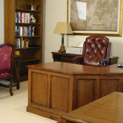 French Country Traditional Timber Study Desk & Bookcase