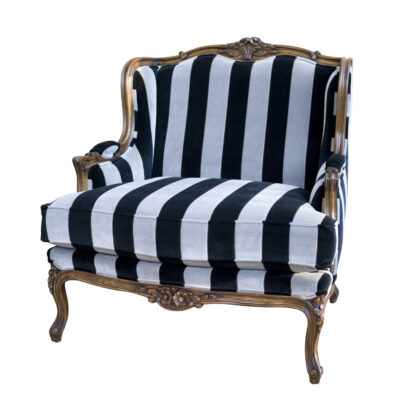 Classic French Armchair Stripe Fabric Carving