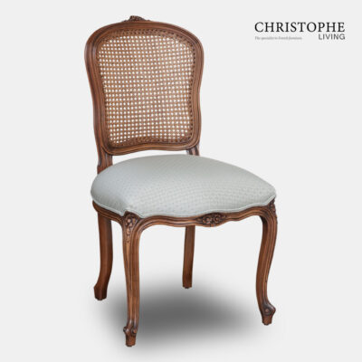 Timber French provincial dining chair with cane back and grey linen seat upholstery with cabriole legs