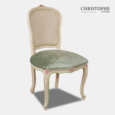 Country French style dining or study chair with antique patina and painted finish in pink and green to match green velvet