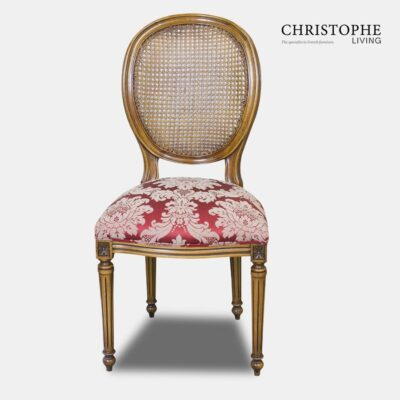 French style timber dining chair with red damask fabric and cane upholstered back with oval shape and tapered legs