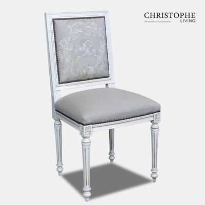 White French dining chair with Hamptons style studding and grey linen upholstery back and antique wash.