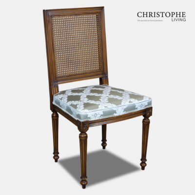 French dining chair in elegant Louis style with square can back in timber with blue fabric