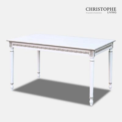 Louis XVI Dining Table Painted Taupe trim