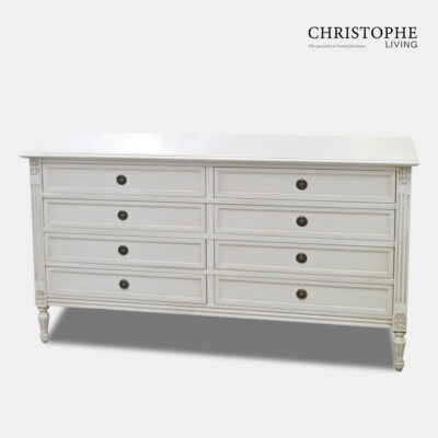 Louis XVI Double Chest of 8 Drawers Antique White