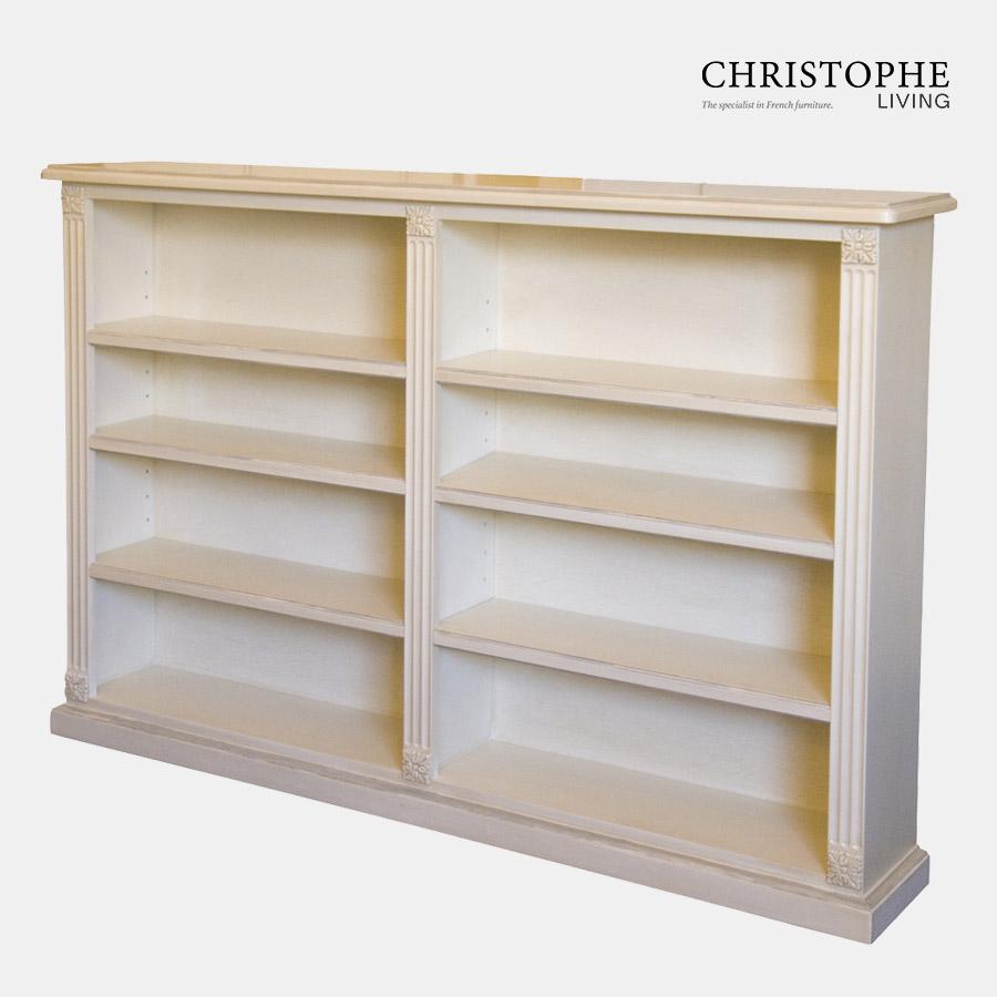 Louis XVI Double Low Bookcase Antique White