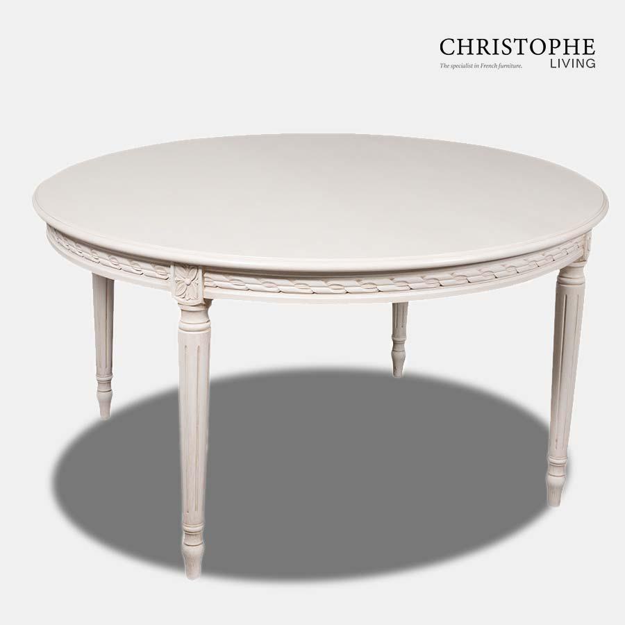 Louis XVI Medium Round Dining Table Antique White