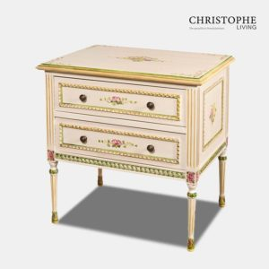 Louis XVI Rope Large Bedside Cabinet 2 Drawers Decorative Painted
