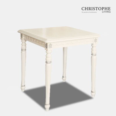 White French Side Table Grey Trim