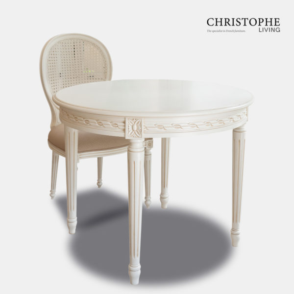 Louis XVI Small Round Dining Table Antique White