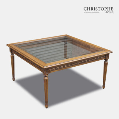Louis XVI Square Coffee Table Glass Top