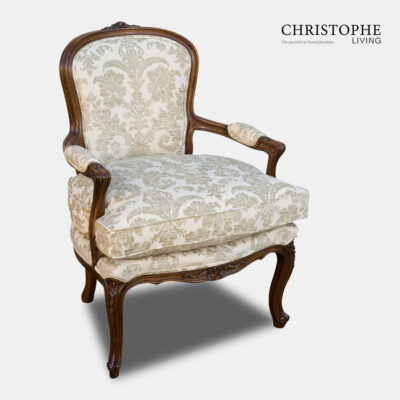 Louis XV Salon Chair in Chenille Damask