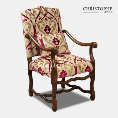 Muttonbone Dining Carver Fully Upholstered with Open Back