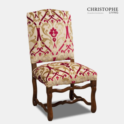 Country style French dining chair in timber with farmhouse style legs and rich velvet fabric upholstery