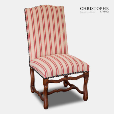 Large farmhouse style French dining chair in timber with carved timber legs and striped upholstery