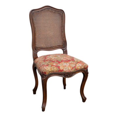 French provincial timber chair for dining table with cane and fabric upholstered seat in red fabric