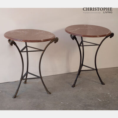 Bronze Side Table with Marble Top