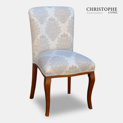 Hamptons style French dining chair fully upholstered in linen with timber curved legs and diamond fabric