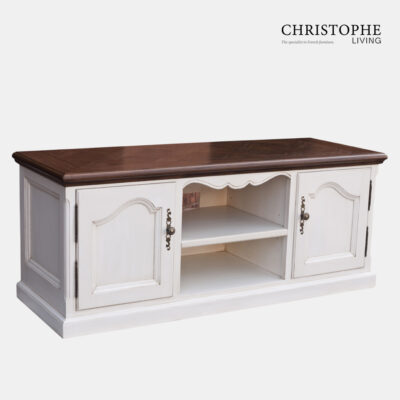 Perigord Entertainment Unit Parquet Top with Antique White Base