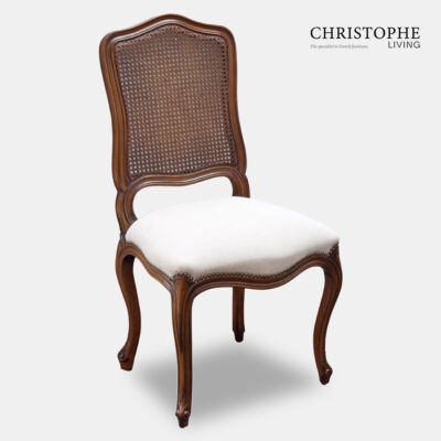 French provincial timber chair for dining room with cane back with linen fabric Provence Dining Chair Cane Back