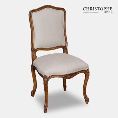 Country French reproduction style dining chair in walnut timber look with upholstery in grey linen