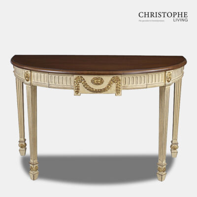 Antique White Hall Table Gold Trim