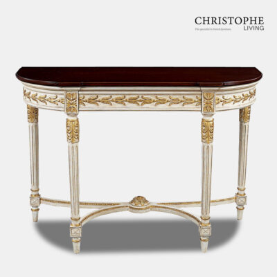 White Hall Table Marble top & gold trim