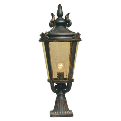 French Wrought Iron Outdoor Pedestal Lantern