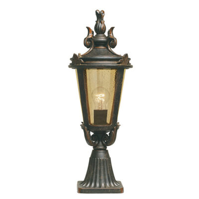 Classic Wrought Iron Outdoor Pedestal Lantern