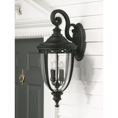 French Wrought Iron Outdoor Wall Lantern Black